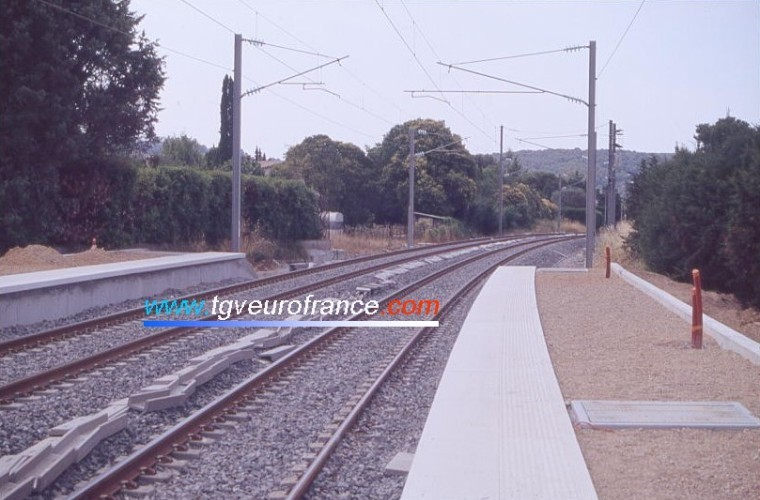 The electrified new railroad between Cannes and Grasse